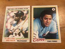 (2) 1978 Topps WILLIE MCCOVEY TONY PEREZ HOF Baseball Card Lot Giants Reds Expos