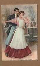 Romance postcard, Too Many Cooks spoil the broth couple embrace pot boils over