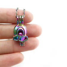 C654 COLORS Rainbow Bead Cage Locket Diffuser Necklace Stainless Steel Chain