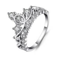 Princess Crown Silver Rhinestone Love Heart Ring Womens Girls Queen Tiara UK