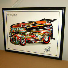 VW Drag Bus Volkswagen Car Racing Poster Print Wall Art 18x24