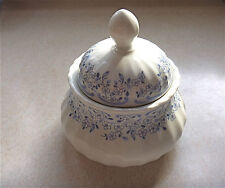 Wunsiedel Retsch Bavaria porcelain blue white sugar bowl floral ribbed crown