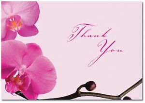 Pink Orchid Floral Wedding Thank You Notes 24/pk with Envelopes
