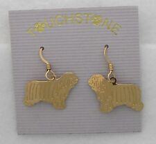 Polish Lowland Sheepdog Jewelry Gold Dangle Earrings by Touchstone