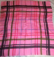 "TRUE VINTAGE 70'S Balenciaga Plaid 33"" Square French Silk Scarf Very HTF UNWORN"