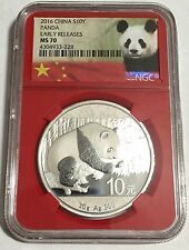 2016 Silver Panda Coins NGC MS 70 Early Release Rare Red Core  30g 10y