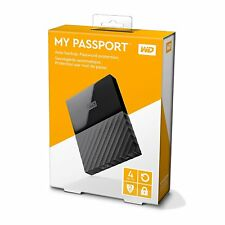 WD WESTERN DIGITAL MY PASSPORT 4TB EXTERNAL PORTABLE HARD DRIVE DISK 4 TB BLACK
