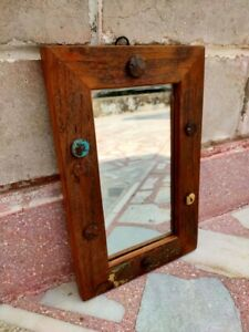 Antique Iron Nails Fitted Wooden Mirror Reproduction Natural Wood Hanging Mirror