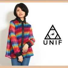 UNIF Prism Rainbow Button Down Shirt Blouse Women's Medium