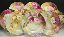 FABULOUS LIMOGES HAND PAINTED ROSE FLORAL CABINET PLATES SET OF 10 ARTIST BUNTER