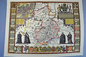 Vintage decorative sheet map of Cambridgeshire Cambridge John Speede 1610