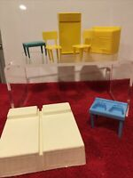 MPC FURNITURE DOLLS HOUSE FURNITURE BED STOVE TABLE CHAIRS