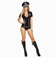 Adult Woman Costume Sexy Police Law Officer Black Size Medium 3 Pc Set