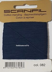 SCANFIL NAVY BLUE 100% COTTON Thread for Hand Sewing Darning & Mending 15 Metres