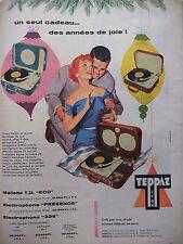 PUBLICITÉ DE PRESSE 1956 TEPPAZ MALLETTE T.D. ECO ELECTROPHONE - ADVERTISING