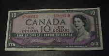 Canada 1954 $10 bank note Devil's face E/D Beattie Coyne BC-32b