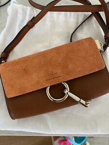 NEW W/O TAGS Chloe Mini Faye Suede & Leather Wallet on a Chain in Brown