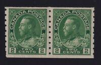 Canada Sc #128ii (1922) 2c green Admiral COIL PAIR Mint VF NH