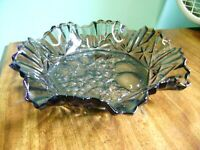 LARGE FEDERAL IRIDESCENT, CARNIVAL PIONEER PATTERN RUFFLED EDGE GLASS FRUIT BOWL
