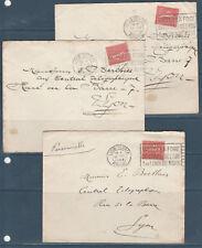 frb/ lot de 3 enveloppes Semeuse 50c rouge num: 199 de Lyon