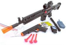 2x Toy Guns M-16 Machine Gun & Colt.45 Pistol Dart Gun w/ Police Gear Set