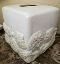 NEW SPRINGS HOME NATURAL SEA SHELLS CERAMIC TISSUE BOX COVER HOLDER