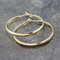 Stunning 18K Gold / White Gold Filled Classic Plain Round Hoop Earrings Elegant
