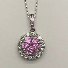 Elegant Sterling Silver 925 Pink Sapphire Flower Cluster CZ Halo Necklace 18""