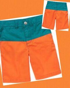 NWT Boys 8 Gymboree 'BRIGHT & BEACHY' Cotton TEAL/ORANGE Color Block SHORTS adj