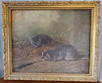 Antique Framed Oil/Canvas Painting Barn Kittens Spy A Mouse Unsigned