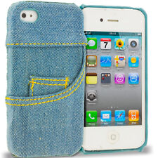 For Apple iPhone 4 4S Real Jeans Pants Blue Denim Textile 3D Case Cover