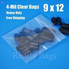 Clear Reclosable Zip Lock Plastic Bags 4 Mil Heavy Duty 9x12 Zipper Seal Baggies