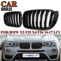 Front Kidney Grille Grill Glossy Black for BMW X3 F25 Facelift X4 F26 2014-2017