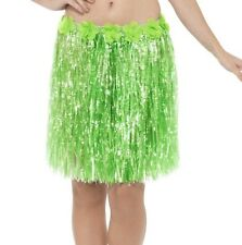 Hawaiian Fancy Dress Hula Skirt Grass Skirt with Flowers Green 46cm by Smiffys