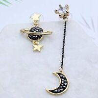 Women Elegant Fashion Earrings Ear Stud Crystal Rhinestone Gold Drop Star Moon S