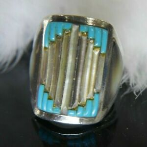 """Vintage Men's Turquoise Abalone 925 Sterling Silver 1 1/16"""" band Ring size 10.75"""