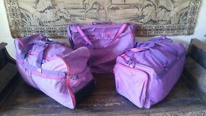 Delsey Soft Purple Luggage Set. Hanging Bag, Wheeled Tilt Bag, Shoulder Bag