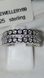 925 STERLING SILVER RHODIUM PLATED SAPPHIRE WEDDING ETERNITY BAND USA 7