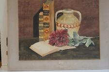 A STILL LIFE WATERCOLOUR OF BOOKS, VASE AND A FLOWER, SIGNED BY C.M.BEER.