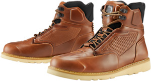 Icon Mens Leather Pair Brown Brigand Motorcycle Riding Street Racing Boots