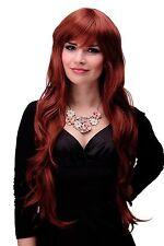 Perruque Femmes Long Ondulés Frange Rouge Auburn Cuivre 80cm 6311-350