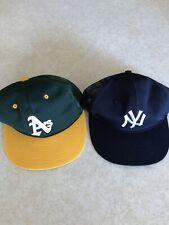 VTG New York Yankees & Oakland A's SnapBack Mesh Trucker Hat 80s Sewn Original