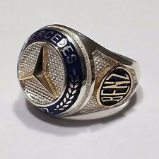 Mercedes Benz Logo Ring Solid 925 K Sterling Silver  Mens Ring