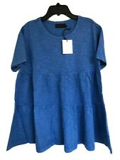 Hatch Maternity Women's THE TIERED COTTON TEE Top Cobalt Blue Size 2 (M/8-10)NEW