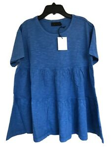 Hatch Maternity Women's THE TIERED COTTON TEE Top Cobalt Blue Size 0 (XS/0-2)NEW