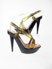 LANVIN Open Toe Gold Metallic Strap Sandals Heels Shoes 38 UK 5