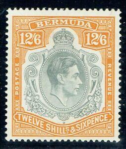 Bermuda 1938 SG120b 12/6 Grey & Pale Orange P14 Very Good L/M/M Cat. £110.00