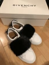 46034d17a722 Givenchy Urban Street White Leather Black Fur Mink Slip On Sneakers 36.5