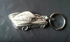CHEVROLET CORVETTE KEYCHAIN KEYRING SILVER RELIEF Measure Vehicle 50x25mm