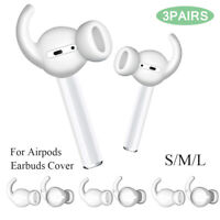 3 Pairs S/M/L Silicone Earbuds Cover + Hook Earphone Pouch for Apple Airpods 2~